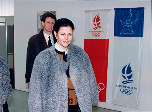 Vintage photo of Queen Silvia was one of the guests at the 1992 Winter Olympics ()