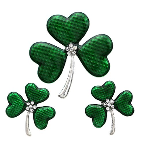 SoulBreezeCollection St. Patrick's Day Good Luck Charm Green Four Leaf Shamrock Clover Pin Brooch (Green Set)