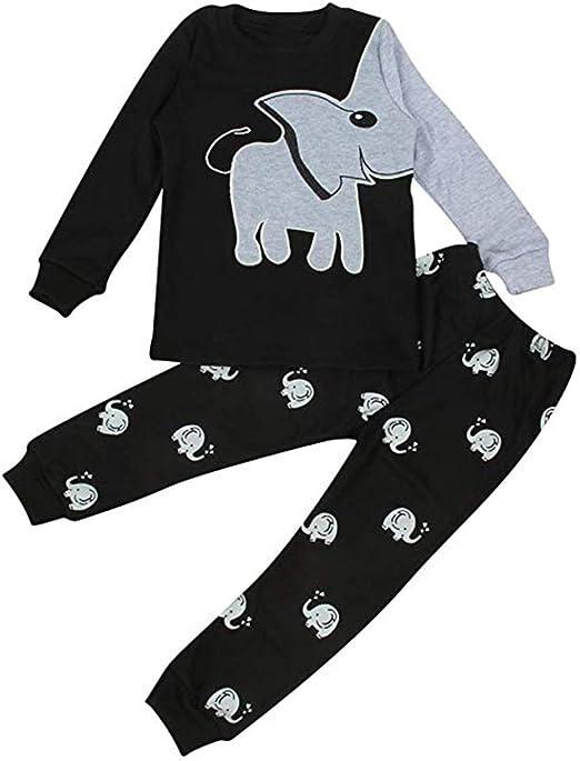 Baby Toddler Boy Elephant Tops T-shirt Stripe Long Pants Kids Set Outfits 1-4T