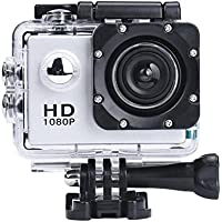 Digital Camera Camcorders Sipring Lightweight Mini 1080P Full HD DV Sports Recorder Car Waterproof Action Camera Camcorder (Silver)