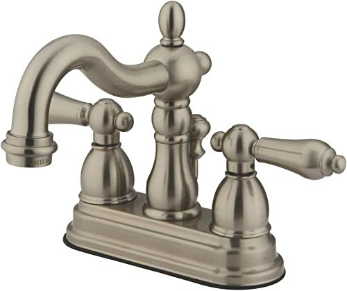 Kingston Brass KB1608ALB Heritage 4-inch Centerset Lavatory Faucet with Lever Handle and Brass Pop-up, Brushed Nickel