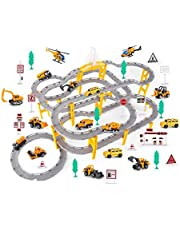 DWLXSH Racing Juego de pista de coches, juguetes for la Asamblea Juegos de fiestas, entre padres e hijos interactivo Rompecabezas simple ensamblaje de rieles de tren de aleación coche pequeño niño Reg