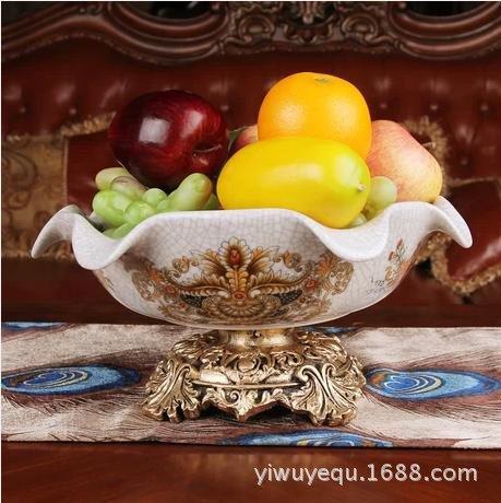 (FYYDGZ Desktop Accessories Ceramic Crackle Lace Fruit Plate Dried Fruit Platter Desktop Ornament,3114.5)