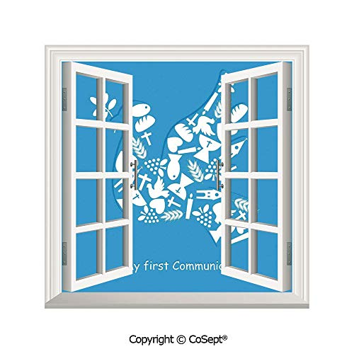 SCOXIXI Open Window Wall Mural,First Communion Sacramento Reminder Fellowship Traditional Ceremony Art,for Living Room(25.86x22.63 inch)