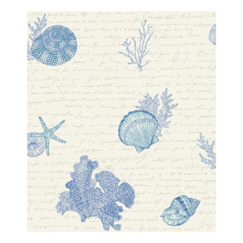 York Wallcoverings KH7001 Kitchen and Bath Oceanic Wallpaper, Pearlescent Cream/Blues/Shining Silver by York Wallcoverings (Pearlescent Wallpaper)