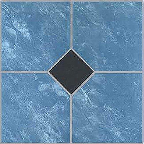 20 Blue Vinyl Floor Adhesive Tile for hard floors and bathroom flooring - 12 x 12 inches