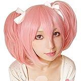 Free Hair Cap + Puella Magi Madoka Magica Madoka Puffy Pink Cosplay Wig + Two Ponytails