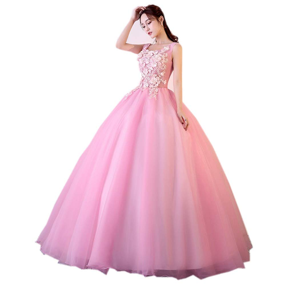 6ddc6da620 Darcy74Dulles Women s Sweet 16 Quinceanera Dresses Pink Ball Gown Off The  Shoulder Lace Long Prom Dresses at Amazon Women s Clothing store