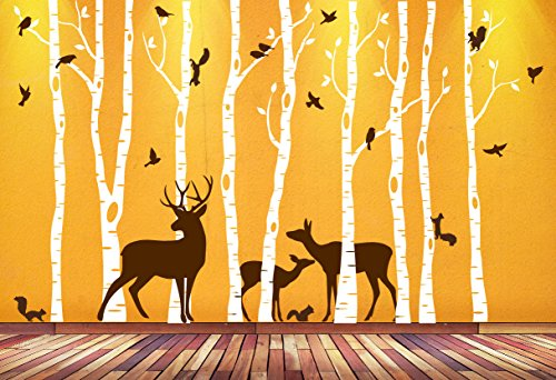 (Birch Tree Wall Art Decal Forest Woodland Birds Deer Family Squirrels Buck Doe Fawn Nursery Decor Sticker Removable Custom (9 trees) 1362 (84