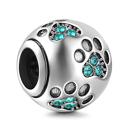 Everbling Dog Puppy Paw Print Pet Lover December Birthstone 925 Sterling Silver Bead Fits European Charm Bracelet