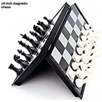 Tavakkal® Folding 100% Standard Materials and Smooth Surface Magnetic Chess Board Black and White 14 inch (14)