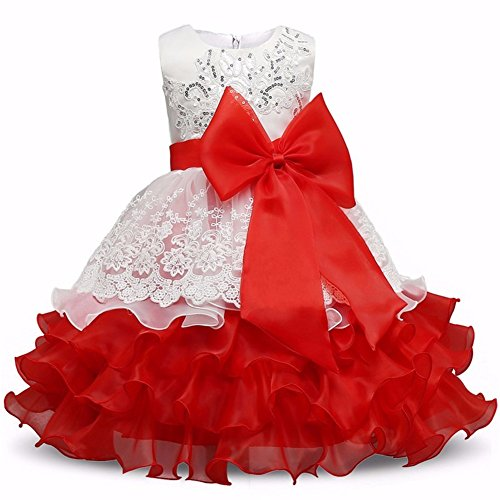 Pageant Wear Christmas (Baby Lace Princess Dresses for Girl Elegant Pageant Birthday Party Dress Baby girl's christmas Clothes for Girls Kids Ruffles Flower Girl Dresses for Weddings Communion 3T (Red,)
