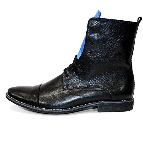 PeppeShoes Modello Salut - Handmade Italiano da Uomo in Pelle Blu Stivali Alti - Vacchetta Pelle Morbido - Allacciare