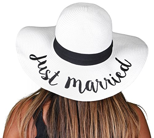 H-2017-JMW Funky Junque Bridal Sun Hat - Just Married (White)