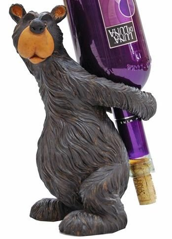 Willie Black Bear Wine Bottle Holder, 9-inch by Wilcor