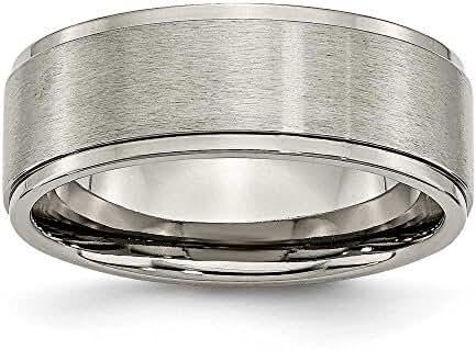 Chisel Ridged Edge Brushed and Polished Titanium Ring (8.0 mm) - Sizes 6-13