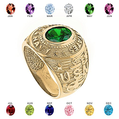 Solid 10k Yellow Gold Personalized CZ Birthstone US Navy Men's Ring (Size 9)