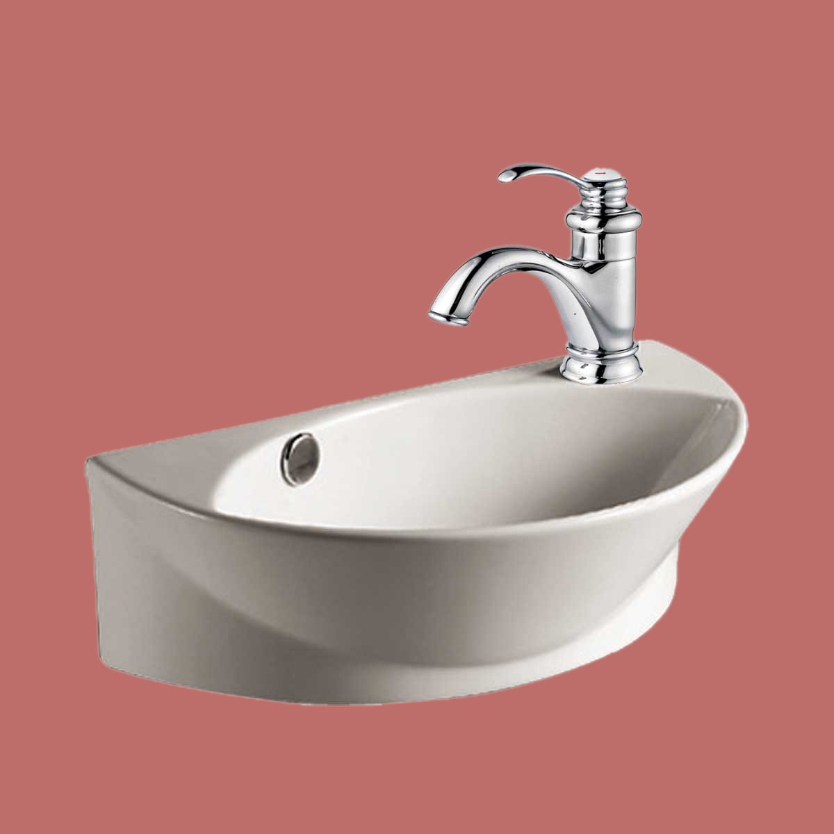 White Small Wall Mount Sink With Single Faucet Hole