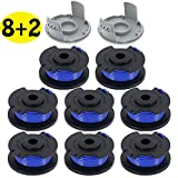LIYYOO 0.065' Autofeed String Trimmer Replacement Spool Line Compatible Ryobi One+ AC14RL3A 18V, 24V,40V Cordless Trimmers,10 Pack (8 Replacement Spool, 2 Trimmer Cap)