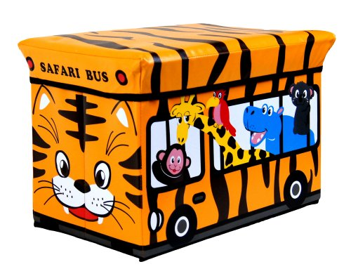 L-FENG-UK Kids Childrens Large Storage Seat Stool Toy Books Clothes Box Chest Train Fire Engine Pink Bus or Safari…