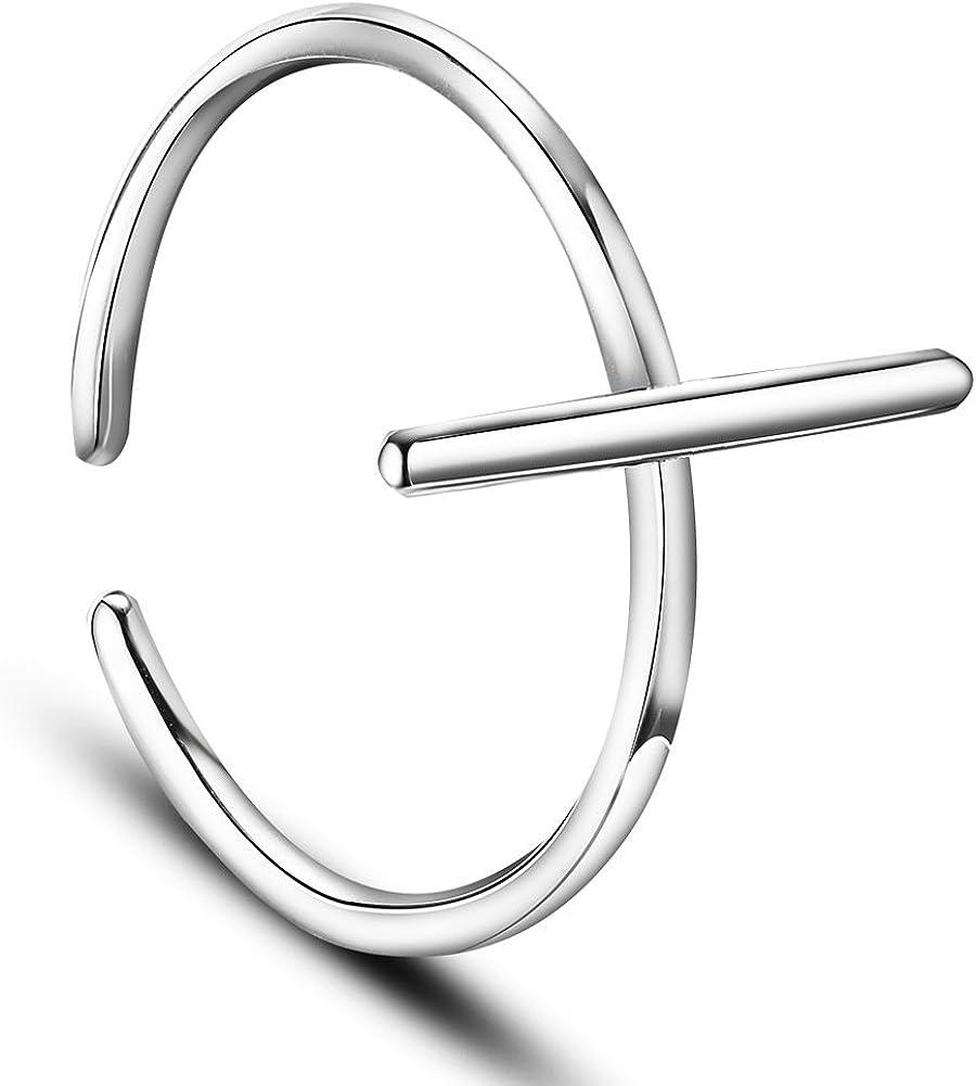 Bague Ouverte en Pur Argent 925 Sterling 17mm SWEETIEE Anneau Simple Baton Vertical Platine