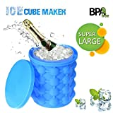 Image of Silicone Ice Cube Maker Genie Revolutionary Space Saving Ice Cube Trays Molds Bucket for Chilling Burbon Whiskey Cocktail Beverages