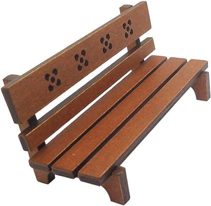 Ogquaton - Modelo de banco de parque (madera, para 1/12, escalera Dollhouse en miniatura, hada, jardín, juguetes, color marrón, muy práctico y popular: Amazon.es: Amazon.es