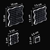 #8: 4 Pcs Stamp Block Acrylic Block with Grid Lines, Acrylic Clear Stamping Blocks Set Essential Stamping Tools for Scrapbooking Crafts Making, Aunifun (A)