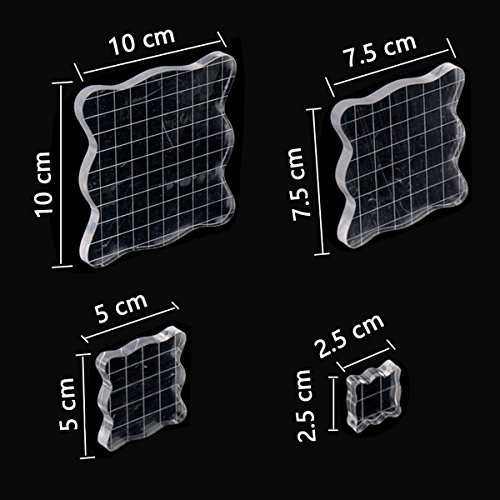 4 Pcs Stamp Block Acrylic Block with Grid Lines, Acrylic Clear Stamping Blocks Set Essential Stamping Tools for Scrapbooking Crafts Making, Aunifun (A)