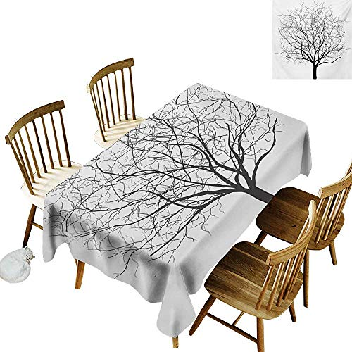 Spotted Rectangular Tablecloth W54 x L72 Tree Old Withered Oak Crown Without Leaves Tree Branches Rustic Theme Illustration Charcoal Grey White Great for Holiday More