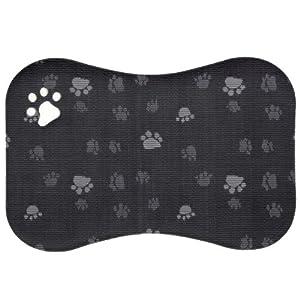 "Great Bay Home Premium Bone Shaped Oversized Pet Feeding Mat (24"" x 16""). Waterproof Dog Cat Food Bowl Placemat. Non-Slip Non-Toxic Food Mat. (Black)"