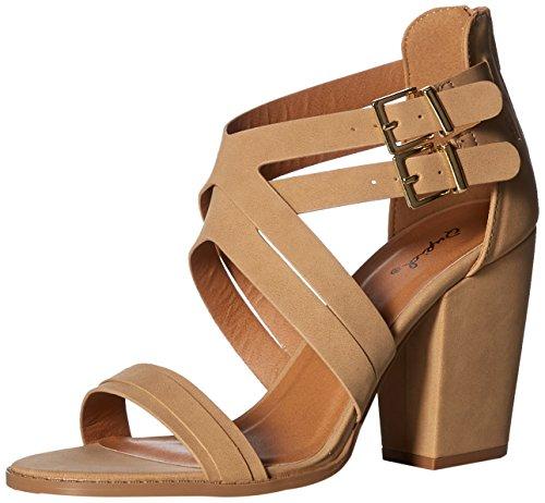 Qupid Women's Chunky Heeled Sandal, Tan Nubuck Polyurethane, 7 M US