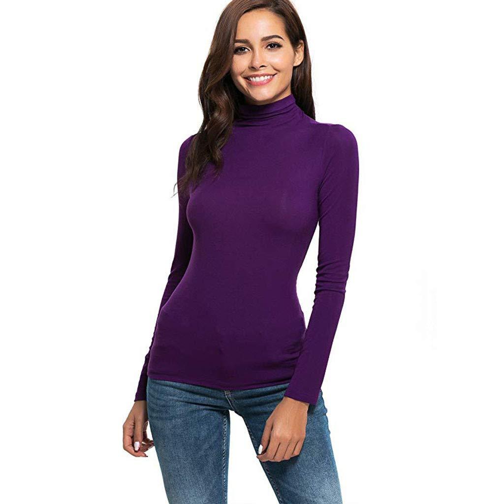 Fashion Turtleneck Shirt Letdown Womens Long Sleeve Solid Slim Fit Tee Sweatshirt Casual Top Blouse