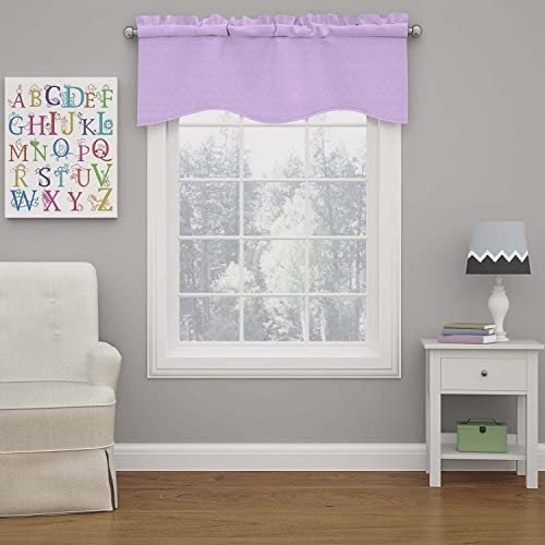 ECLIPSE Kendall Solid Scalloped Window Valance Curtains, 42 x 18 , Light Purple