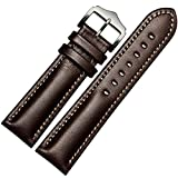 MSTRE NP03 18mm/20mm Couple Watch Band Calfskin Leather Adults Strap (18mm, Brown)