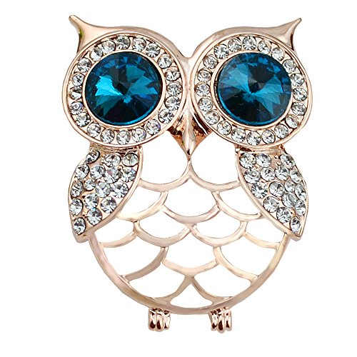 Owl Bird Brooch - Gyn&Joy Jewelry Gold Tone Crystal Rhinestones Hollow Cute Owl Bird Brooch BZ023