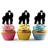 TA0114 Gorilla Silhouette Party Wedding Birthday Acrylic Cupcake Toppers Decor 10 pcs