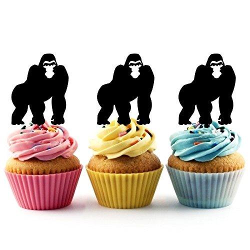 TA0114 Gorilla Silhouette Party Wedding Birthday Acrylic Cupcake Toppers Decor 10 pcs