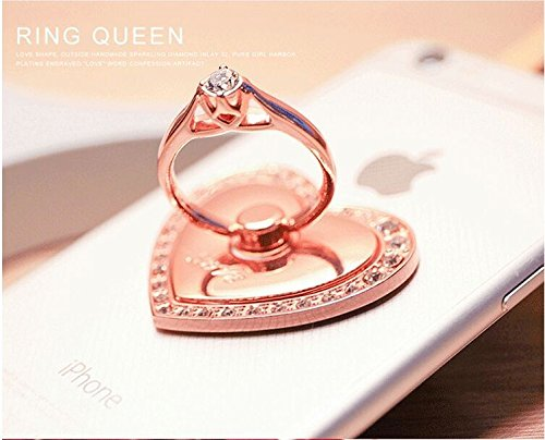 Universal Phone Ring Bracket holder ,UCLL Love Heart Diamond Shape Finger Grip Stand Holder Ring Car Mount Phone Ring Grip Smartphone Ring stent Tablet Rose Gold by UCLL (Image #3)