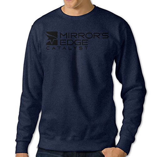 Amzone Men's Red Edge MEC Logo Classic Long Sleeve T Shirt Navy L