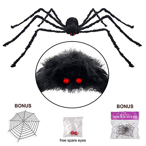 Pawliss Halloween 11.8 Ft Round Spider Web with 6.6 Ft Spider Scary Giant Spider, Halloween Decor Decorations Outdoor Yard, Black -