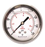 2-1/2'' Liquid Filled Pressure Gauges - Stainless Steel Case, Brass, 1/4'' NPT, Center Back Mount Connection 0-160PSI