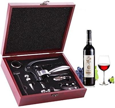 Ducomi DOCG–Caja Accesorios Vino de Elegantissima caja de madera–unidades 10piezas Color también incluye abrebotellas, sacacorchos a Conejo, sacacorchos, vertedor, termómetro–regalo original