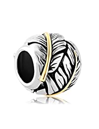 Feather Charms Jewelry Sale Cheap Silver Plated Beads Fit Pandora Charm Bracelets