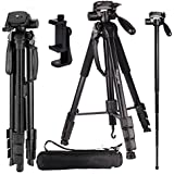 "Regetek Camera Tripod Travel Monopod (70"" Aluminum Professional Video Camera Mount Leg) Adjustable Stand with Flexible Head for Canon Nikon DV DSLR Camcorder Gopro cam& Carry Bag & Cellphone Mount"