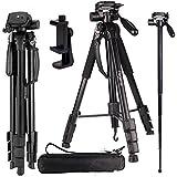 Regetek Camera Tripod Travel Monopod (70 Aluminum professional Video Camera Mount Leg) Adjustable Stand with Flexible head for Canon Nikon DV DSLR Camcorder Gopro cam& Carry Bag & CellPhone Mount
