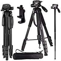Regetek Camera Tripod Travel Monopod (70 Aluminum professional Video Camera Mount Leg) Adjustable Stand with Flexible head for Canon Nikon DV DSLR Camcorder Gopro cam& Carry Bag & CellPhone Mount