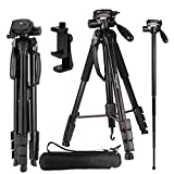 Regetek Camera Tripod Travel Monopod (70'' Aluminum professional Video Camera Mount Leg) Adjustable Stand with Flexible head for Canon Nikon DV DSLR Camcorder Gopro cam& Carry Bag & CellPhone Mount