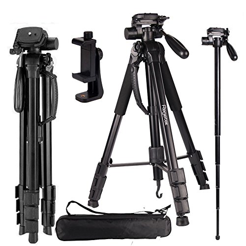 Regetek Camera Tripod Travel Monopod (70″ Aluminum Professional Video Camera Mount Leg) Adjustable Stand with Flexible Head for Canon Nikon DV DSLR Camcorder Gopro cam& Carry Bag & Cellphone Mount