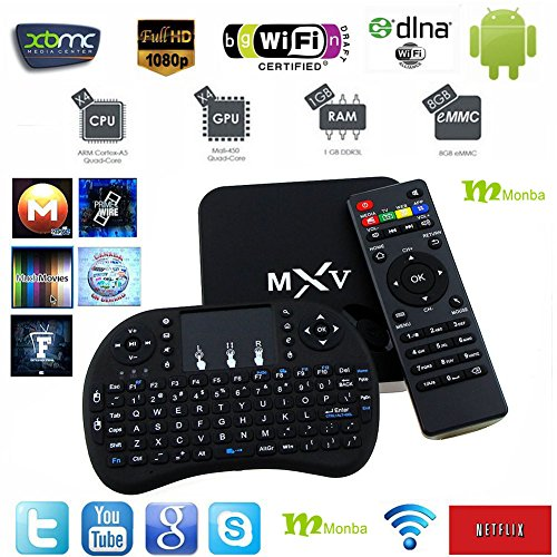 [New!!!] Monba MXV Android TV BOX Kodi fully loaded XBMC Amlogic S805 Quad Core 1GB/8GB Wifi LAN 4k tv player Streaming Media Player with Wireless keyboard